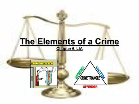 The Elements of a Crime Chapter 6, LIA. Criminal Offences For all criminal offences, it is necessary to prove two elements:For all criminal offences,