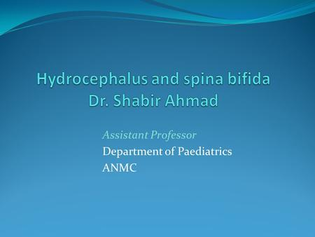 Assistant Professor Department of Paediatrics ANMC.