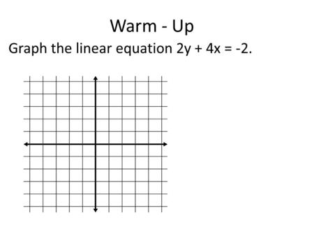 Warm - Up Graph the linear equation 2y + 4x = -2..