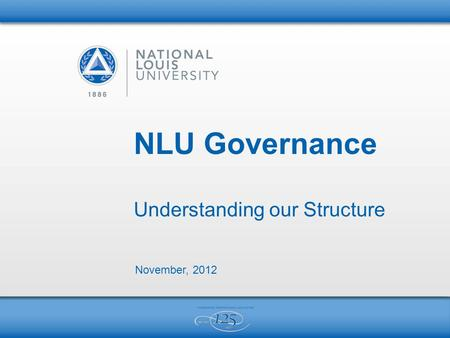 NLU Governance Understanding our Structure November, 2012.