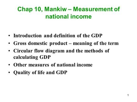 Chap 10, Mankiw – Measurement of national income