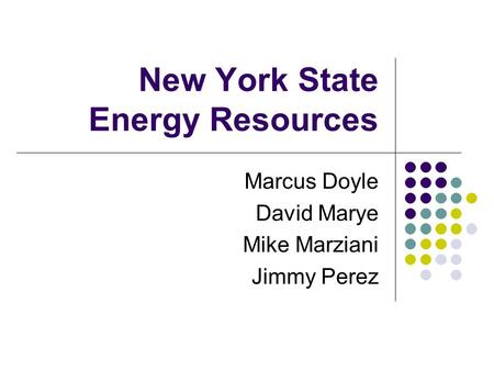 New York State Energy Resources Marcus Doyle David Marye Mike Marziani Jimmy Perez.