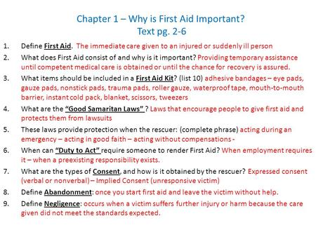 Chapter 1 Why Is First Aid Important Ppt Video Online Download