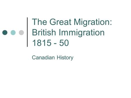 The Great Migration: British Immigration