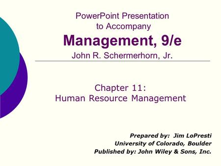 Chapter 11: Human Resource Management