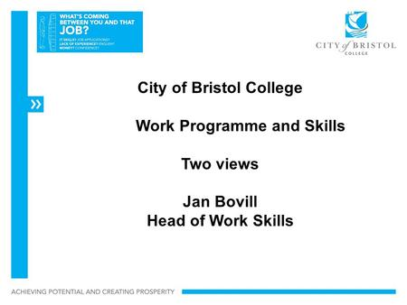 City of Bristol College Work Programme and Skills Two views Jan Bovill Head of Work Skills.