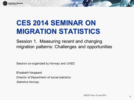 1 CES 2014 SEMINAR ON MIGRATION STATISTICS Session 1. Measuring recent and changing migration patterns: Challenges and opportunities UNECE Paris 10 April.