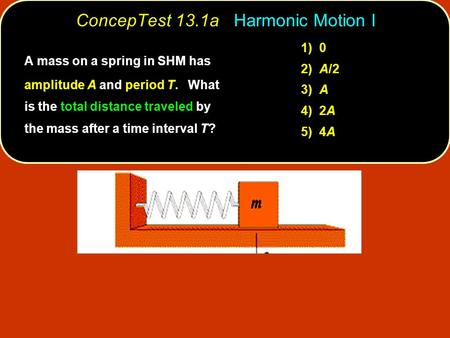ConcepTest 13.1a Harmonic Motion I 1) 0 2) A/2 3) A 4) 2A 5) 4A A mass on a spring in SHM has amplitude A and period T. What is the total distance traveled.