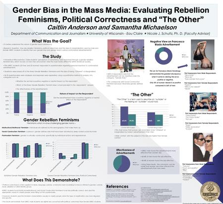 "Gender Bias in the Mass Media: Evaluating Rebellion Feminisms, Political Correctness and ""The Other"" Caitlin Anderson and Samantha Michaelson Funding for."