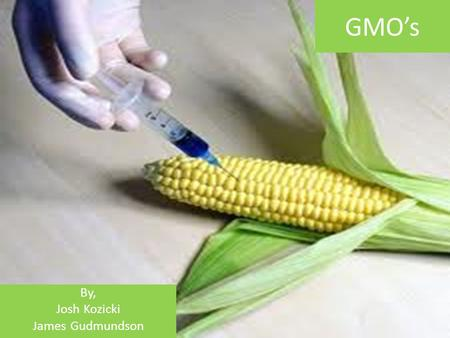 GMO's By, Josh Kozicki James Gudmundson. What Are GMO's Genetic Modification is technology that alters the genetic makeup of organisms such as animals,