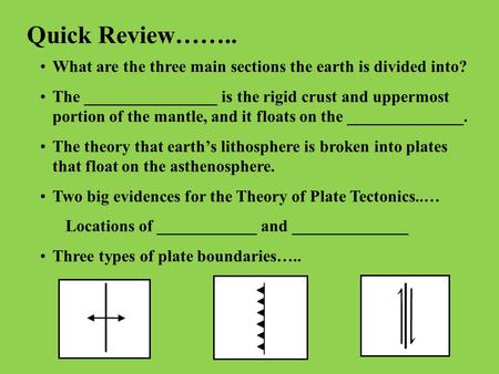 Quick Review…….. What are the three main sections the earth is divided into? The ________________ is the rigid crust and uppermost portion of the mantle,