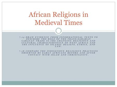 African Religions in Medieval Times