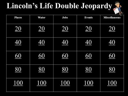 Lincoln's Life Double Jeopardy PlacesWaterJobsEventsMiscellaneous 20 40 60 80 100.