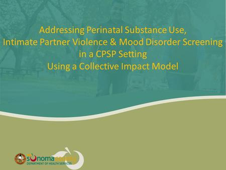 Addressing Perinatal Substance Use, Intimate Partner Violence & Mood Disorder Screening in a CPSP Setting Using a Collective Impact Model.