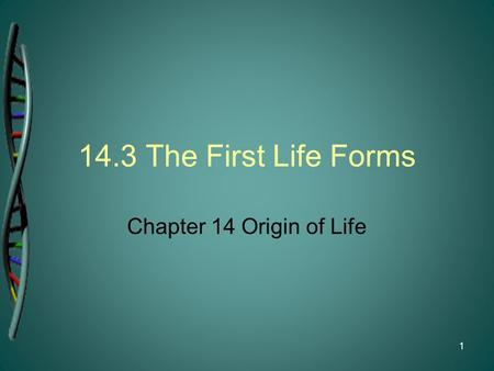 14.3 The First Life Forms Chapter 14 Origin of Life.