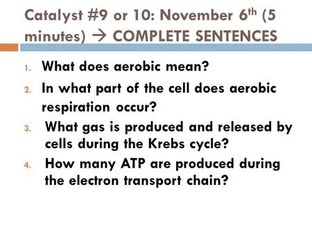 Catalyst #9 or 10: November 6th (5 minutes)  COMPLETE SENTENCES