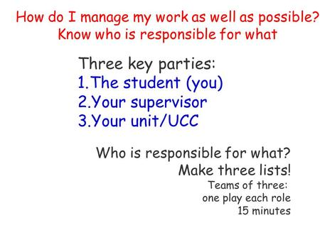 How do I manage my work as well as possible? Know who is responsible for what Three key parties: 1.The student (you) 2.Your supervisor 3.Your unit/UCC.