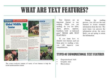 WHAT ARE TEXT FEATURES? TYPES OF INFORMATIONAL TEXT FEATURES