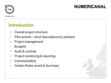 Introduction Overall project structure Pilot actions – short descriptions by partners Project management Budgets Audit & controls Project monitoring &