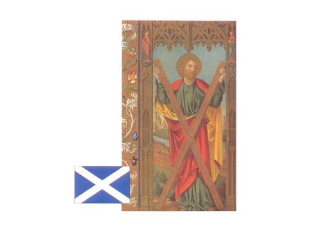 The Saint Andrew's cross is the Scottish flag. Saint Andrew, a fisherman, was one of the 12 apostles who followed Jesus Christ. Paintings of Saint Andrew.