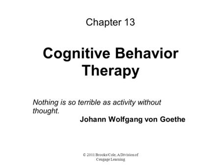 Chapter 13 Cognitive Behavior Therapy