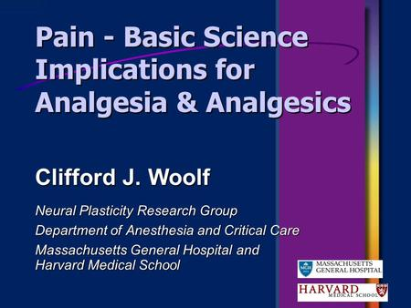 Pain - Basic Science Implications for Analgesia & Analgesics Neural Plasticity Research Group Department of Anesthesia and Critical Care Massachusetts.