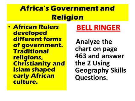 Africa's Government and Religion African Rulers developed different forms of government. Traditional religions, Christianity and Islam shaped early African.
