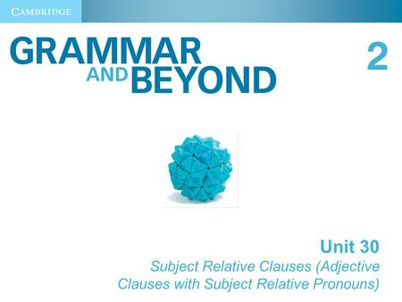 Unit 30 Subject Relative Clauses (Adjective Clauses with Subject Relative Pronouns)