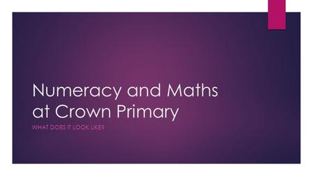 Numeracy and Maths at Crown Primary WHAT DOES IT LOOK LIKE?