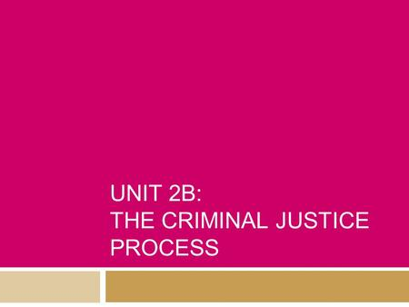 UNIT 2B: THE CRIMINAL JUSTICE PROCESS. Steps In a Trial - Felony  1. Crime Occurs  2. Investigation  3. Arrest  4. Booking  5. Initial Appearance.