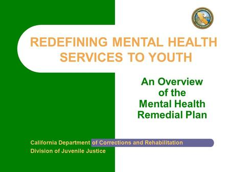An Overview of the Mental Health Remedial Plan California Department of Corrections and Rehabilitation Division of Juvenile Justice REDEFINING MENTAL HEALTH.