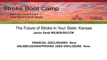 The Future of Stroke in Your State: Kansas Janice Sandt MS,BSN,RN,CCM FINANCIAL DISCLOSURES: None UNLABELED/UNAPPROVED USES DISCLOSURE: None.