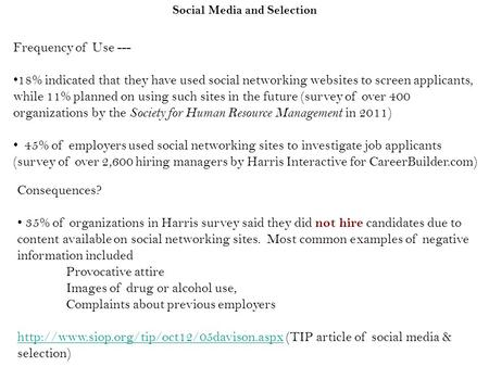 Social Media and Selection