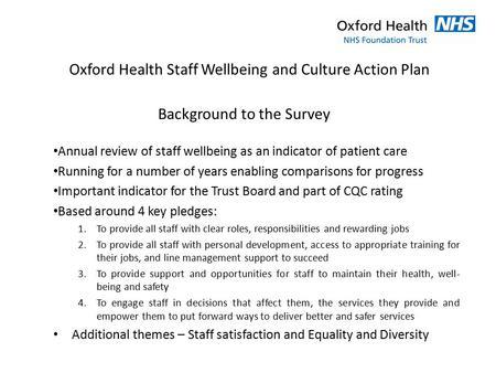 Oxford Health Staff Wellbeing and Culture Action Plan
