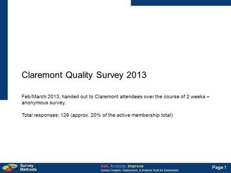 Page 1 Claremont Quality Survey 2013 Feb/March 2013, handed out to Claremont attendees over the course of 2 weeks – anonymous survey. Total responses: