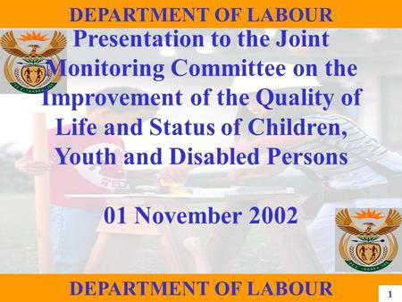 1 DEPARTMENT OF LABOUR Presentation to the Joint Monitoring Committee on the Improvement of the Quality of Life and Status of Children, Youth and Disabled.