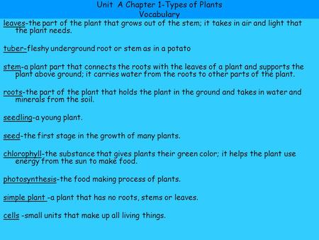 Unit A Chapter 1-Types of Plants Vocabulary