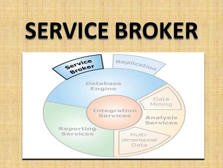 SERVICE BROKER. SQL Server Service Broker SQL Server Service Broker provides the SQL Server Database Engine native support for messaging and queuing applications.