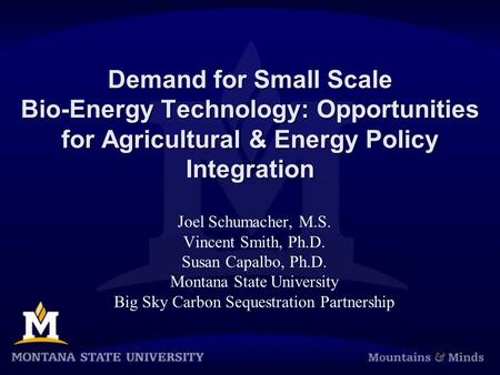 Demand for Small Scale Bio-Energy Technology: Opportunities for Agricultural & Energy Policy Integration Joel Schumacher, M.S. Vincent Smith, Ph.D. Susan.