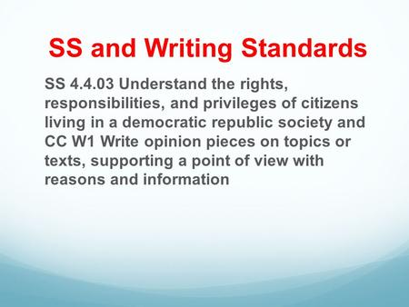 SS and Writing Standards