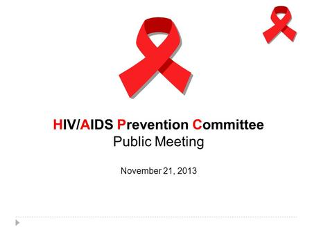 HIV/AIDS Prevention Committee Public Meeting November 21, 2013.