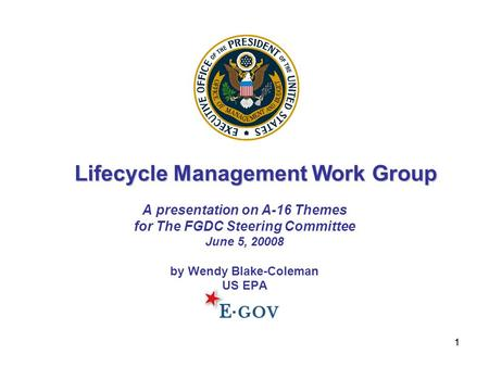 11 A presentation on A-16 Themes for The FGDC Steering Committee June 5, 20008 by Wendy Blake-Coleman US EPA Lifecycle Management Work Group.