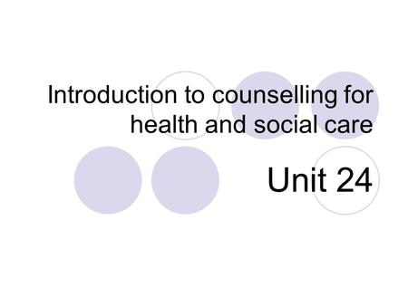 Introduction to counselling for health and social care