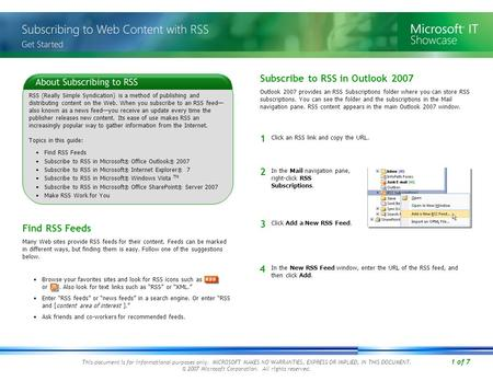 1 of 7 This document is for informational purposes only. MICROSOFT MAKES NO WARRANTIES, EXPRESS OR IMPLIED, IN THIS DOCUMENT. © 2007 Microsoft Corporation.