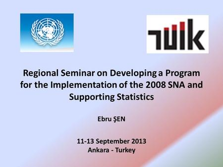Regional Seminar on Developing a Program for the Implementation of the 2008 SNA and Supporting Statistics Ebru ŞEN 11-13 September 2013 Ankara - Turkey.