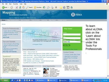 Homepage To learn about eLOMA click on the 'Learn about eLOMA' link under the Tools For Professionals.