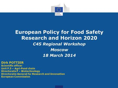 European Policy for Food Safety Research and Horizon 2020