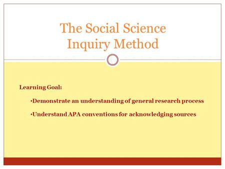 The Social Science Inquiry Method