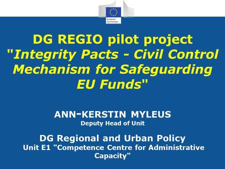 Integrity Pacts - Civil Control Mechanism for Safeguarding EU Funds