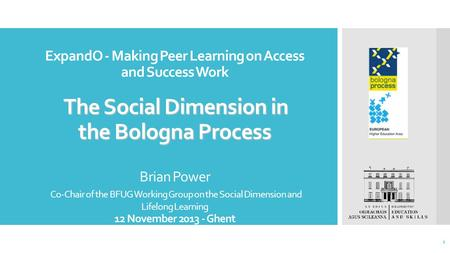 The Social Dimension in the Bologna Process ExpandO - Making Peer Learning on Access and Success Work The Social Dimension in the Bologna Process Brian.